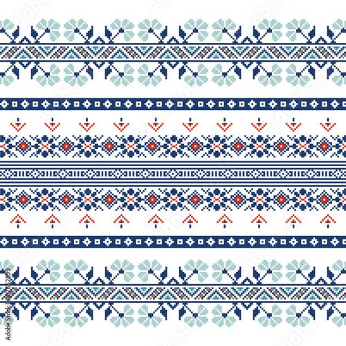 Fényképezés  Set of Ethnic ornament pattern in blue colors