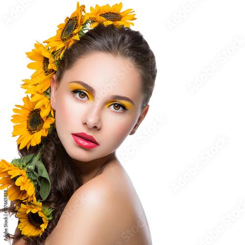 Fotografia, Obraz  Beautiful girl with flowers in hair