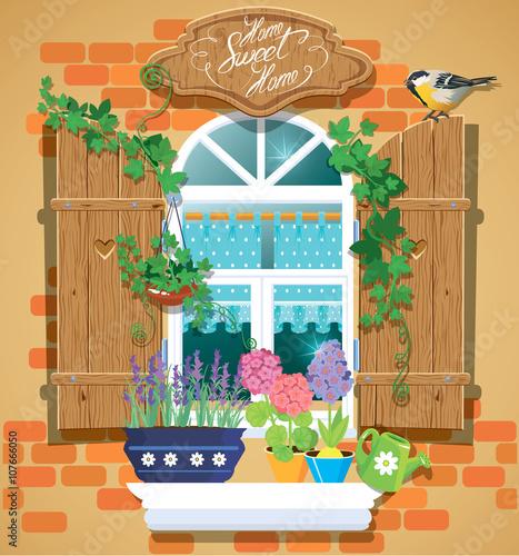 okno-i-kwiaty-w-doniczkach-ptak-tomtit-i-odrecznie