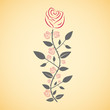 Rose in vector illustration. Pink rose with grey leaves and stems.