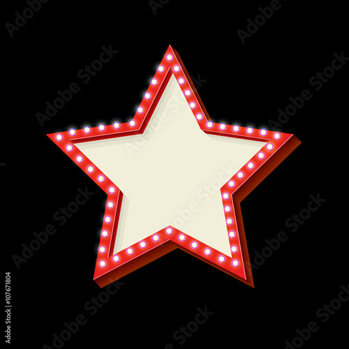 Red Retro Star Frame The Symbol Vintage Volume With Stars Glowing