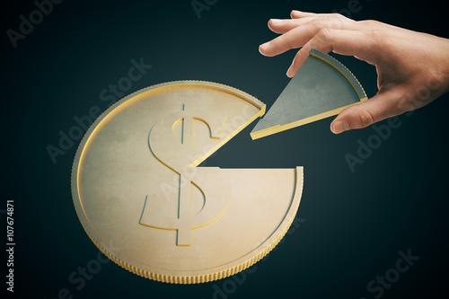 Fotografía  Moneda del dólar oscura