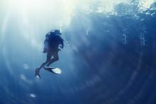 Unusual Photo Diver Underwater Background