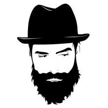 Vector Portrait Of Serious Bearded Man Wearing Hat Looking Away.