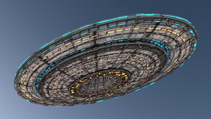 Fototapeta 3d render. Spaceship UFO concept