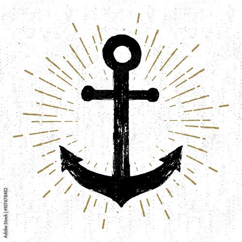 Fotografía Hand drawn vintage icon with a textured anchor vector illustration