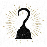 Hand drawn vintage icon with a textured pirate hook vector illustration.