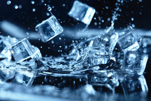 Ice Cubes With Water Splash