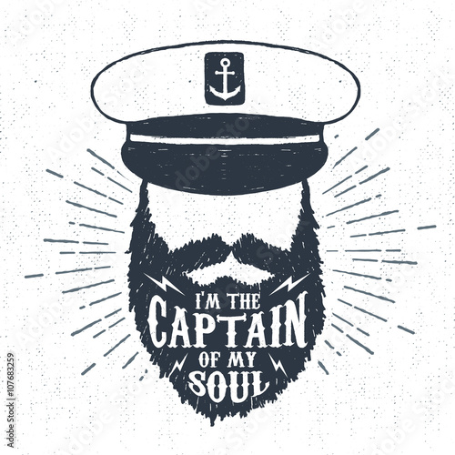 """Fotografía  Hand drawn vintage label, retro badge with textured captain vector illustration and """"I am the captain of my soul"""" inspiring lettering"""