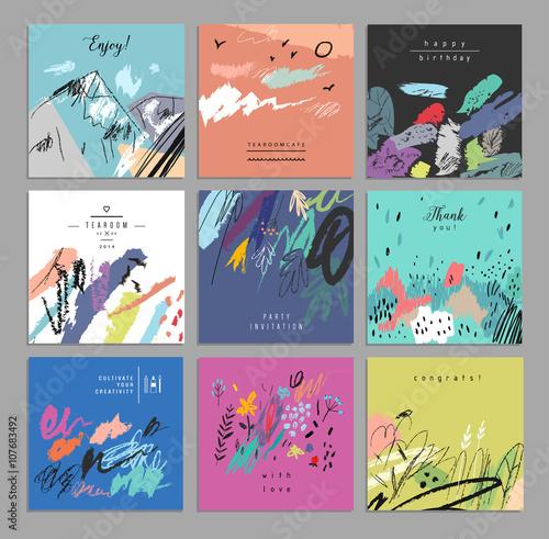 Zestaw artystycznych kreatywnych kart uniwersalnych. Ręcznie rysowane tekstury.