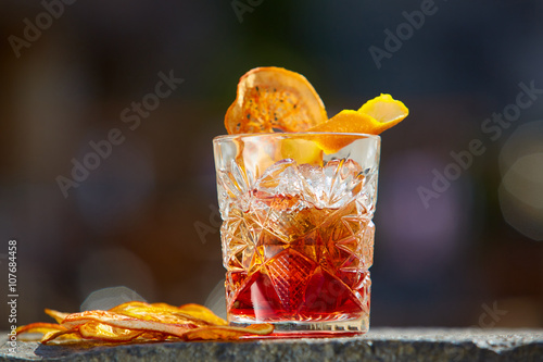 Photo  Old fashioned cocktail. Negroni