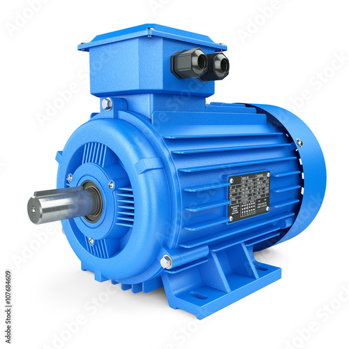 Fotografie, Obraz  Blue electric industrial motor. Isolated on white background 3d