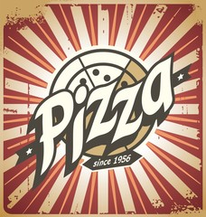 Obraz na Szkle Do pizzerii Retro pizza sign, poster, template or pizza box design
