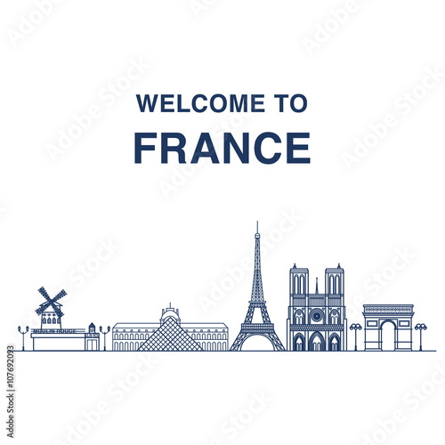 Obraz na płótnie Welcome to France banner with outline illustrations of famous Parisian landmarks: Moulin rouge, Louvre, Eiffel tower, Notre dame cathedral and triumphal arch