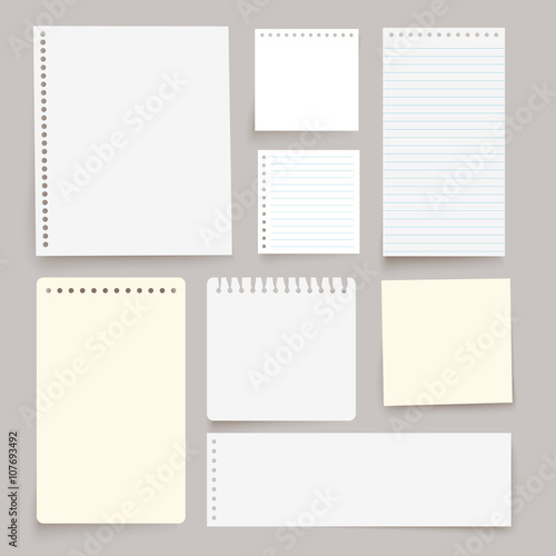 Set of various white vector note papers.  Wall mural