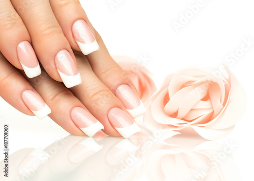 Fotografering Woman hands with french manicure  close-up