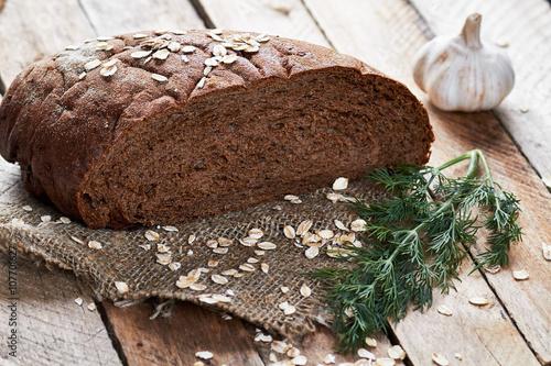 fototapeta na drzwi i meble Loaf of bread and vegetables