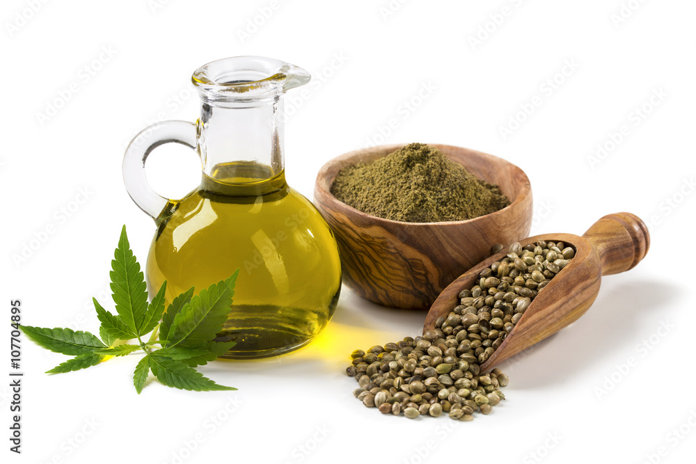 Fototapety, obrazy: Hemp oil n a glass jar