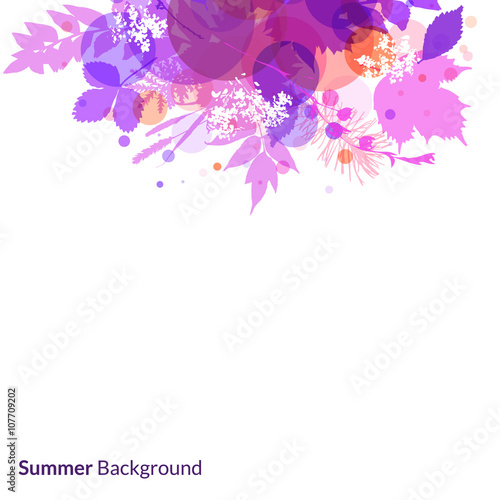 Photo Stands Floral woman Summer foliage vector background