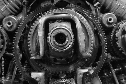 Fotografie, Obraz  old gear and chain, machinery part background
