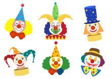 Clown Face Set,Vector Illustra...