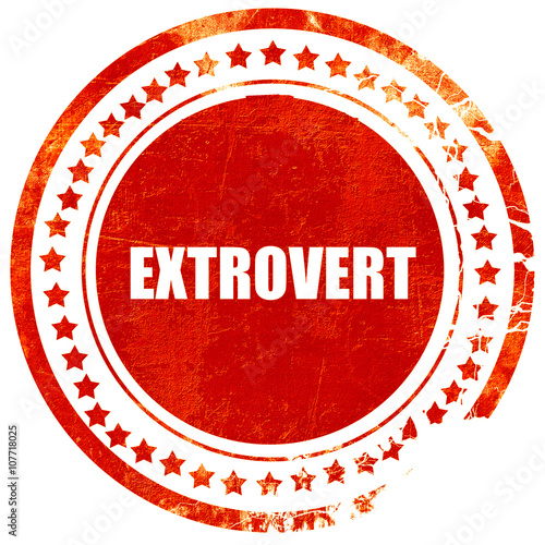 Photo  extrovert, grunge red rubber stamp on a solid white background