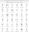 Vector drinks ultra modern outline line icons for web apps. Tea, coffee and alcohol.