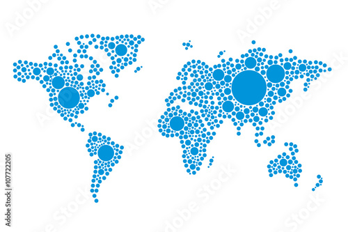 Abstract computer graphic world map of dots made in blue stylized abstract computer graphic world map of dots made in blue stylized drops vector illustration gumiabroncs Images