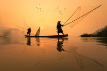 Fishermans Is Fishing In Mekong River In The Morning At Nongkhai Province, Thailand