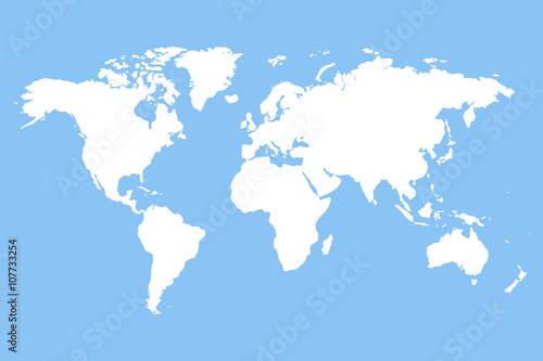 White blank world map.