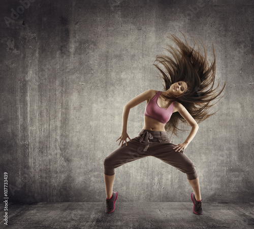 Fototapeta Fitness Sport Dance, Woman Dancer Flying Hair Dancing, Concrete