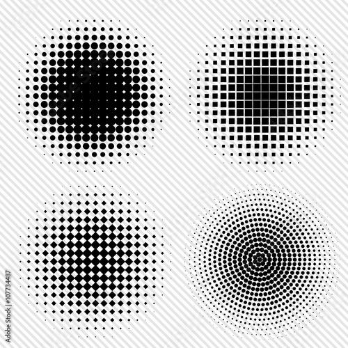 Fotografie, Obraz  Set of Black Abstract Halftone Circles Logo, vector illustration