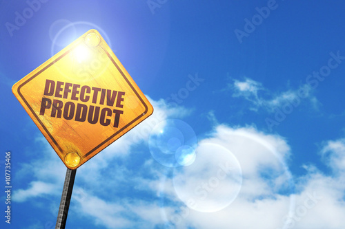 Fotografia, Obraz  Yellow road sign with a blue sky and white clouds: defective pro