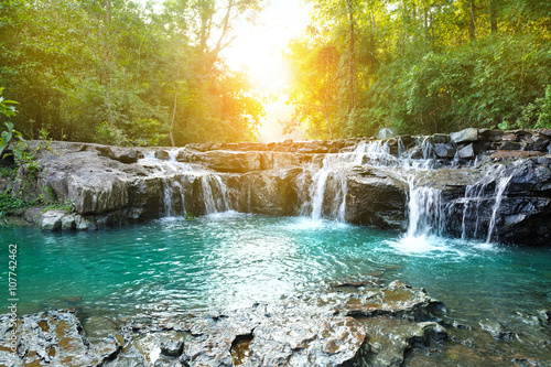 Foto auf Leinwand Forest river beautiful water fall in thailand