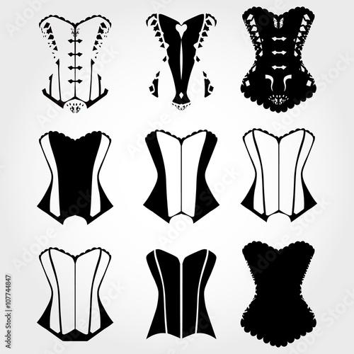 Fotografia Corset silhouette set, corset icon set