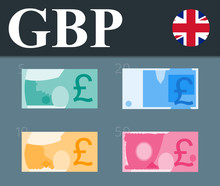 Colorful Pound Sterling Banknotes. Flat Design Vector Illustration.