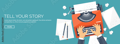 Fototapeta Vector illustration.  Flat typewriter. Tell your story. Author. Blogging. obraz