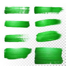 Green Watercolor Brush Strokes. Vector Oil Paint Smear. Polish Trace.