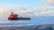 Cargo ship (Bulk carrier) sailing. Riga, Latvia
