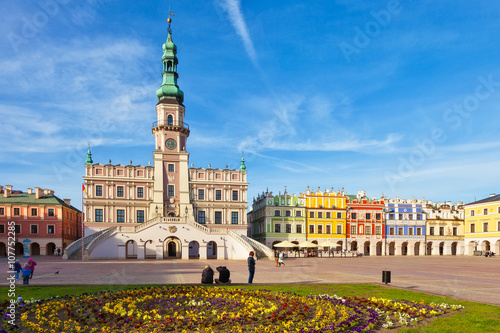 Main Market square in the Old Town in Zamosc, Poland.