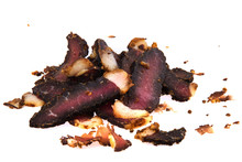 Delicious Beef Biltong Slices, A South African Dried Meat Delicacy.