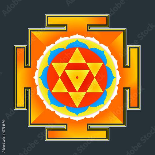 Canvastavla  colored Baglamukhi yantra illustration.