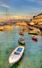 Boats In The Harbor Of Santa Lucia - Naples