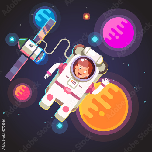 Fotografie, Obraz  Astronaut girl flying in space