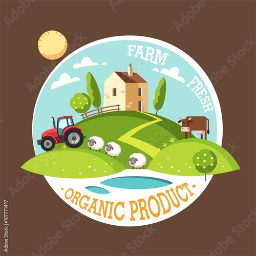 Organic product. Farm fresh. Summer rural landscape. Vector illustration concept.