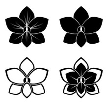 Four Orchid Silhouettes For Design Vector