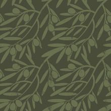 Seamless Pattern With Olive Br...