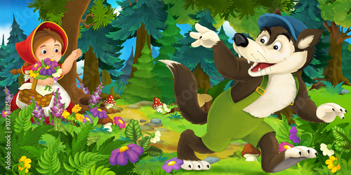 plakat Cartoon scene of wolf waving goodbye to a girl in the forest - illustration for children
