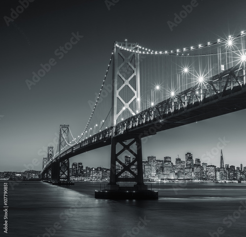 Canvas Prints San Francisco San Francisco Bay Bridge in Black and White