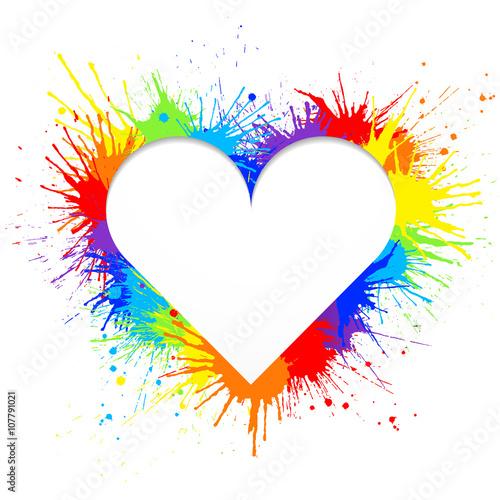 Tuinposter Vormen Heart shaped frame made of rainbow paint splashes on white background Vector illustration.